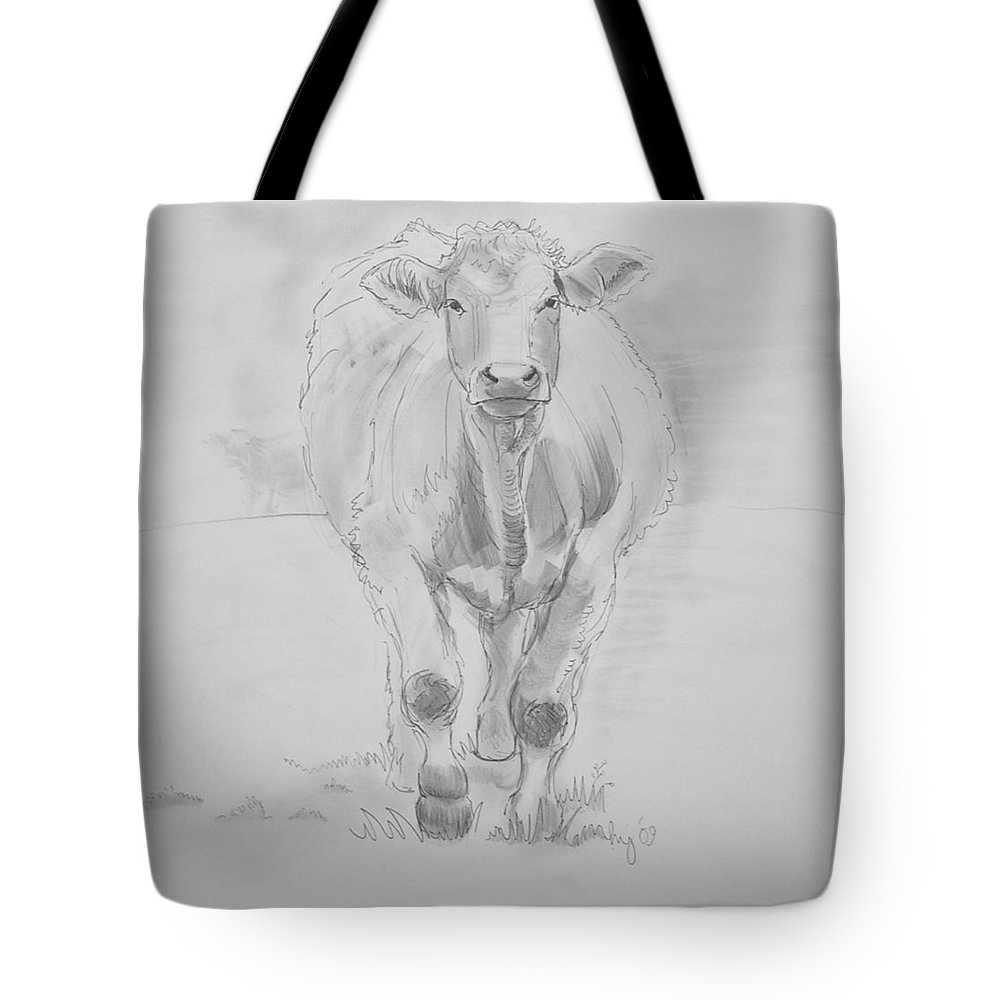 Cows Tote Bag featuring the drawing Cow Drawing by Mike Jory