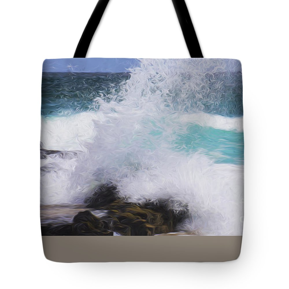 Surf Tote Bag featuring the photograph Crash by Sheila Smart Fine Art Photography