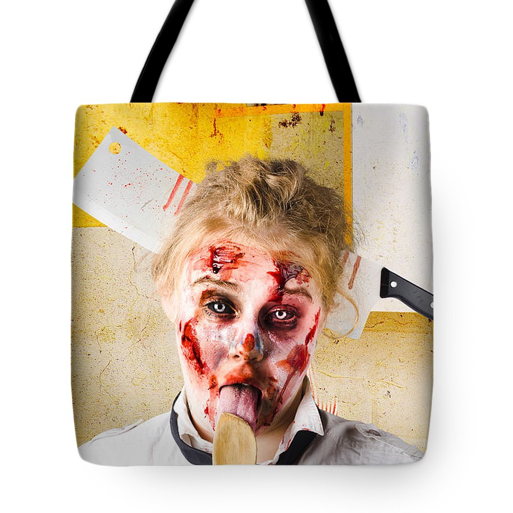 Zombie Tote Bag featuring the photograph Crazy Sick Monster Eating Gmo Food by Jorgo Photography - Wall Art Gallery