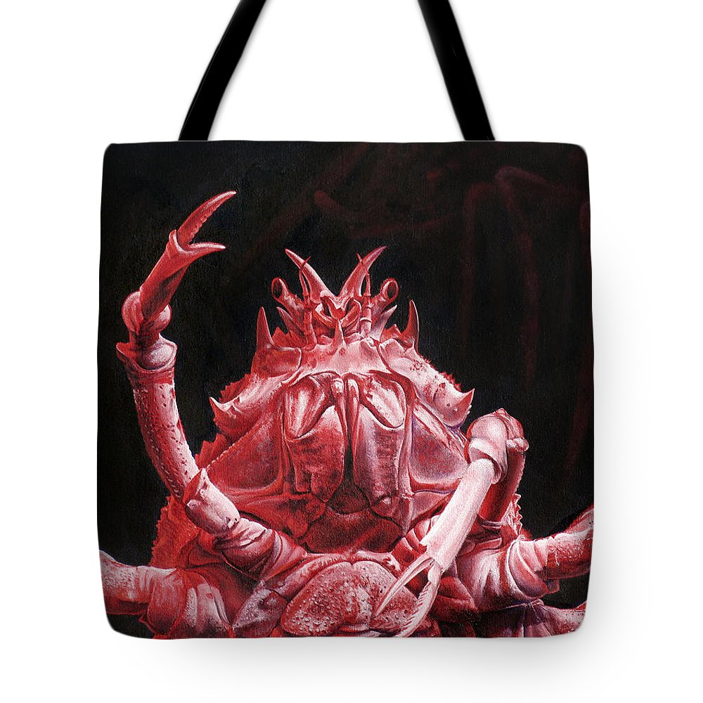 Crab Tote Bag featuring the painting Crustacean Salutation by Cara Bevan