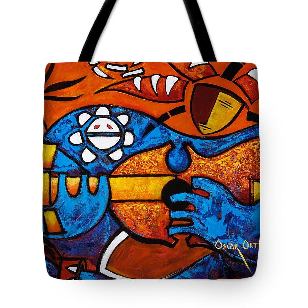 Puerto Rico Tote Bag featuring the painting Cuatro En Grande by Oscar Ortiz