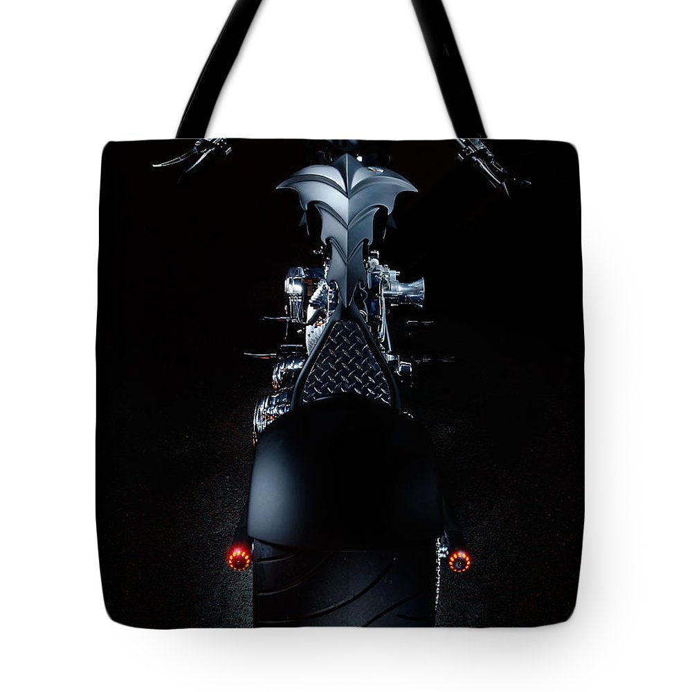 Harley Tote Bag featuring the photograph Custom Chopper by Frank Kletschkus