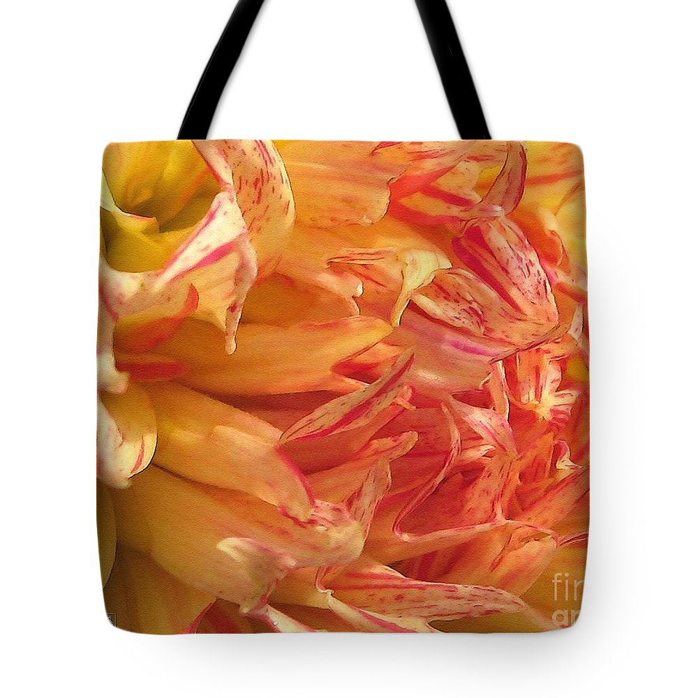 Dahlia Tote Bag featuring the painting Dahlia Named Misty Explosion by J McCombie