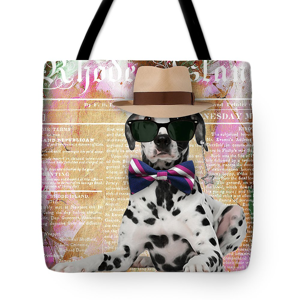 Dalmatian Tote Bag featuring the mixed media Dalmatian Bowtie Collection by Marvin Blaine