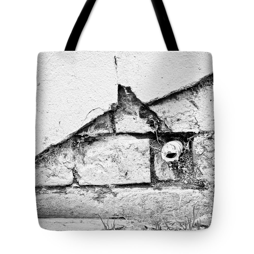 Abandoned Tote Bag featuring the photograph Damaged Wall by Tom Gowanlock