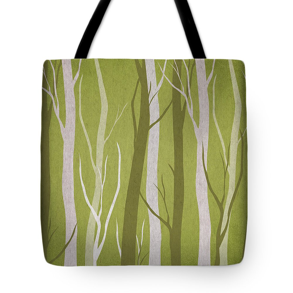 Contemporary Art Tote Bag featuring the digital art Dark Forest by Aged Pixel