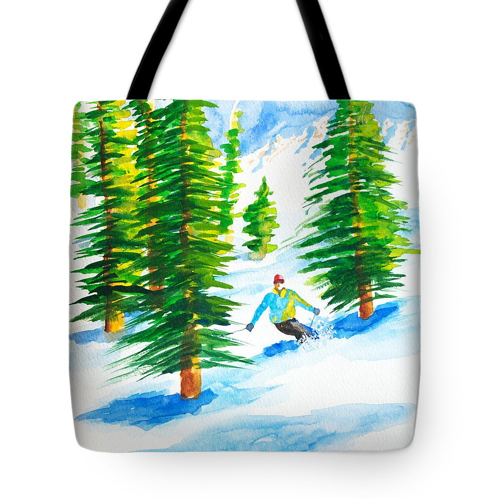 Powder Skiing Tote Bag featuring the painting David Skiing The Trees by Walt Brodis