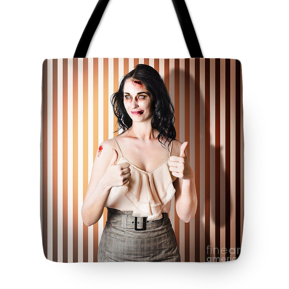 Acceptance Tote Bag featuring the photograph Dead Set Business Woman Ready With Thumbs Up by Jorgo Photography - Wall Art Gallery