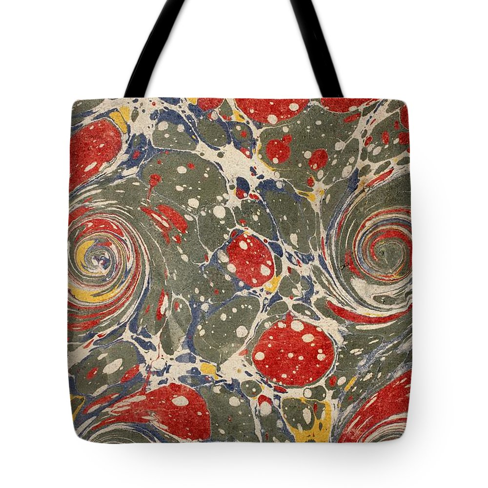 Book Tote Bag featuring the photograph Decorative Endpaper From A Nineteenth by Ken Welsh