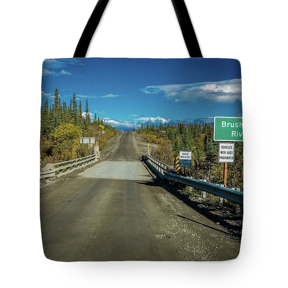 Photography Tote Bag featuring the photograph Denali Highway, Route 8, Bridge Crosses by Panoramic Images
