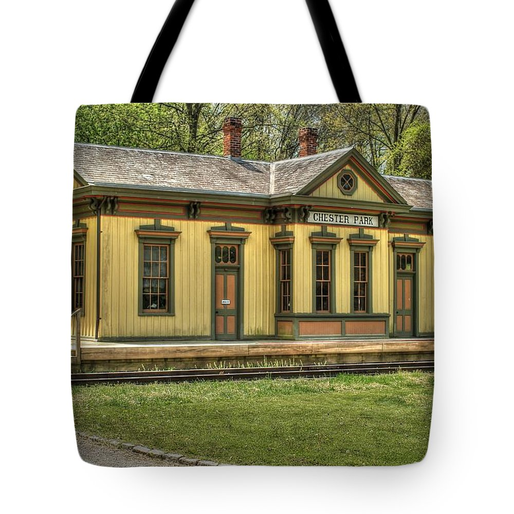 Railroad Tote Bag featuring the photograph Chester Park Train Depot by Paul Lindner