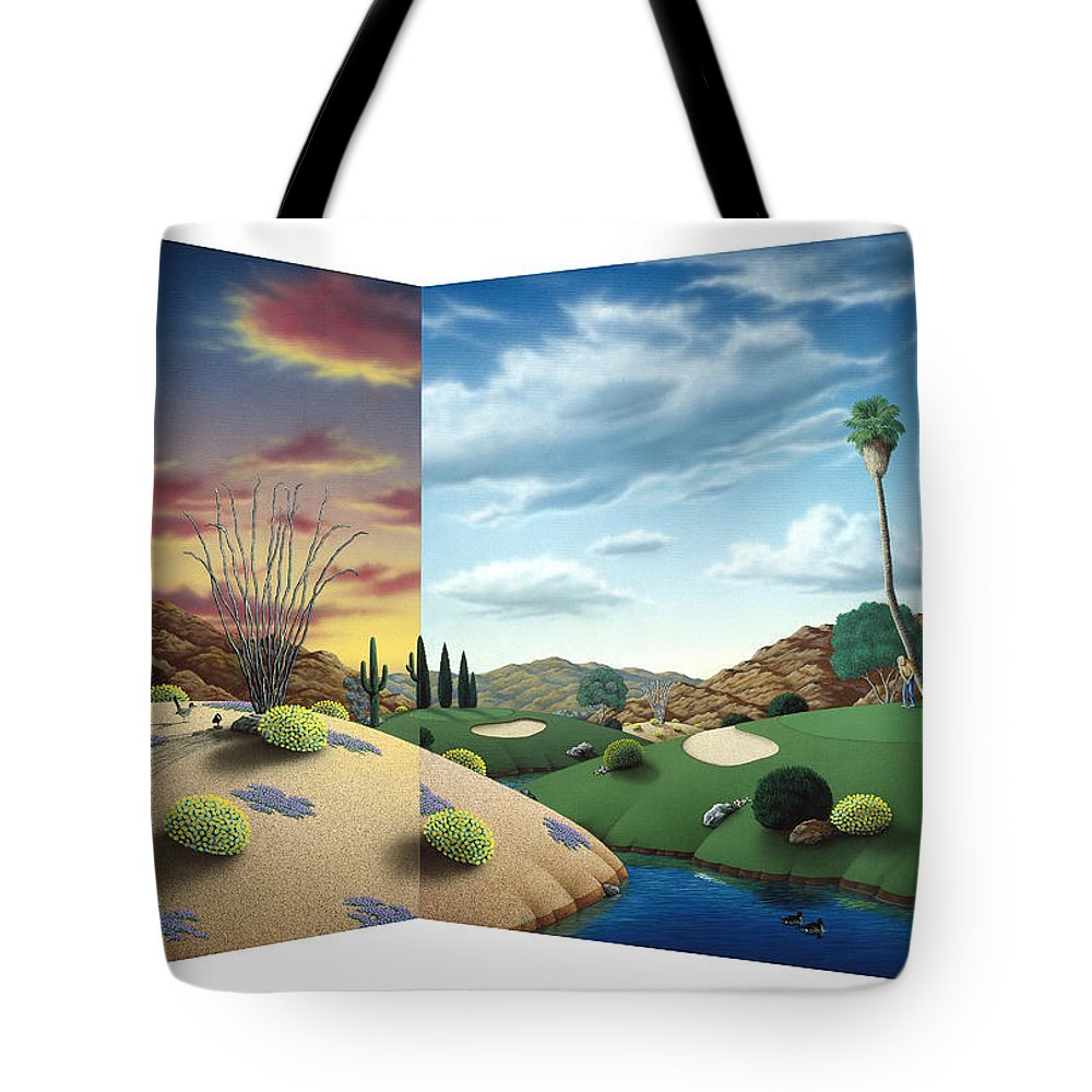 Desert Tote Bag featuring the painting Desert Golf by Snake Jagger