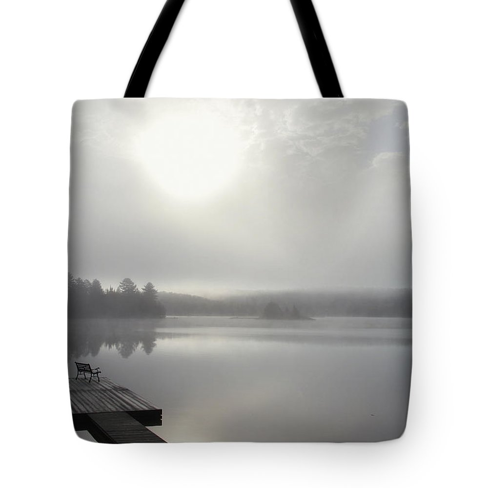Light Tote Bag featuring the photograph Dock In Morning Fog, Oxtongue Lake by Doug Hamilton