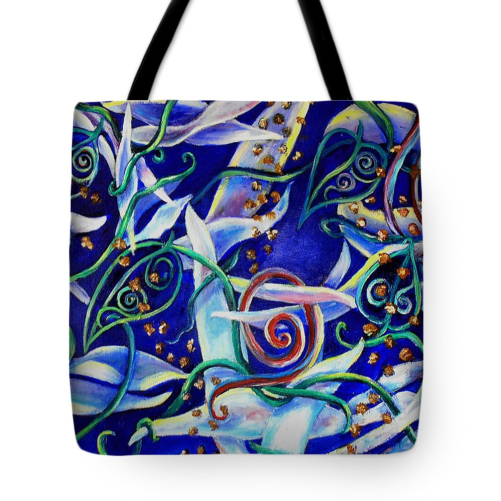 Abstract Tote Bag featuring the painting Doodles by Art by Kar