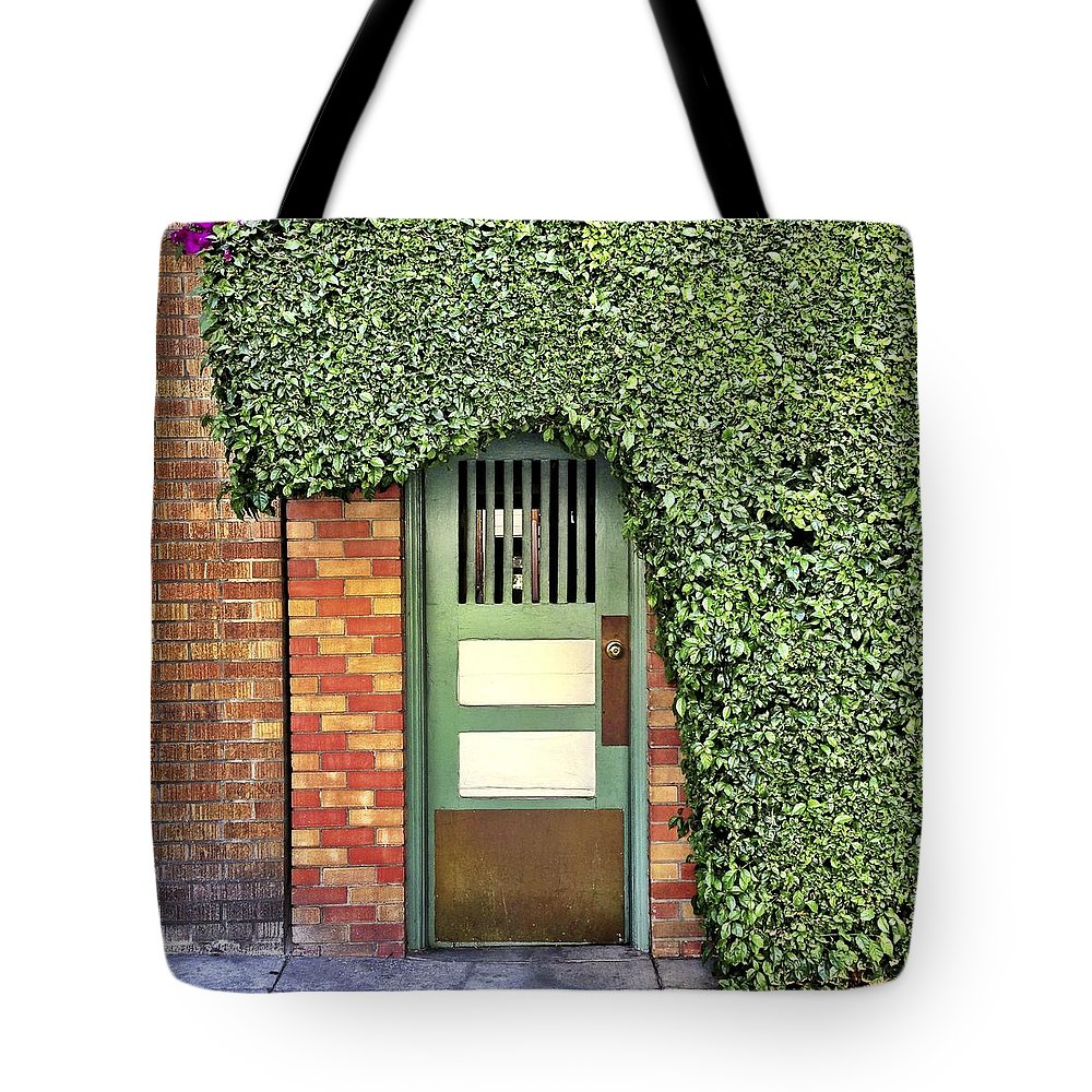 Tote Bag featuring the photograph Door And Hedge by Julie Gebhardt