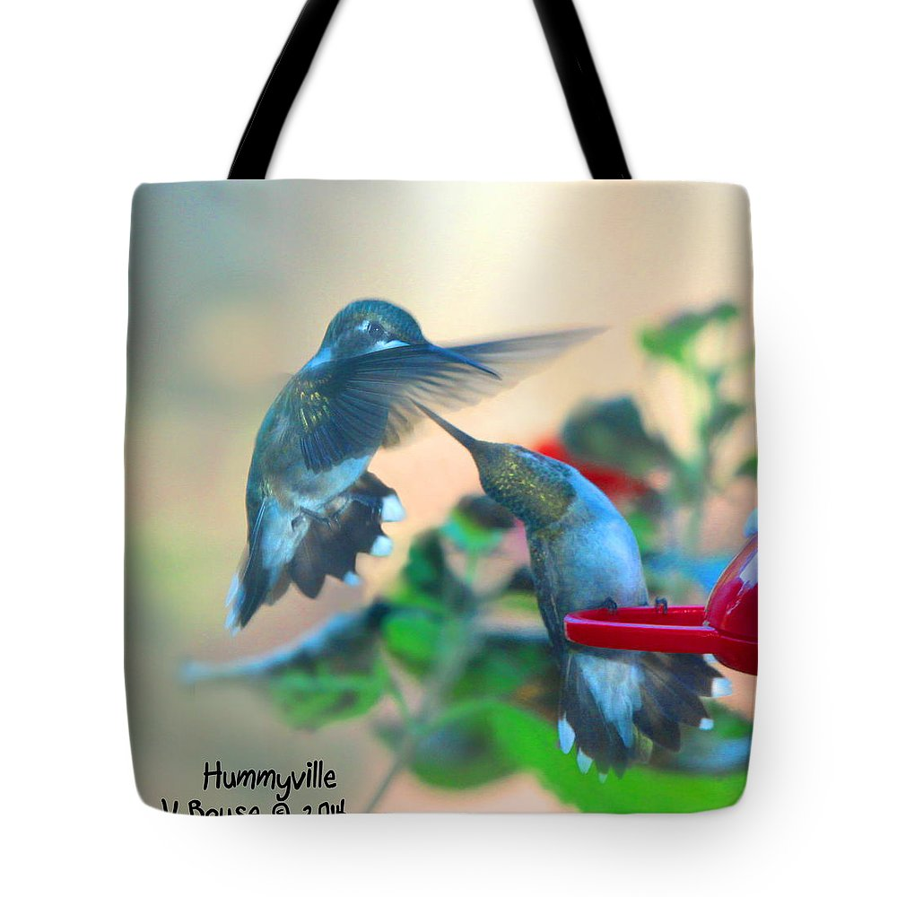 Art Tote Bag featuring the digital art Double Hummer by Diane V Bouse