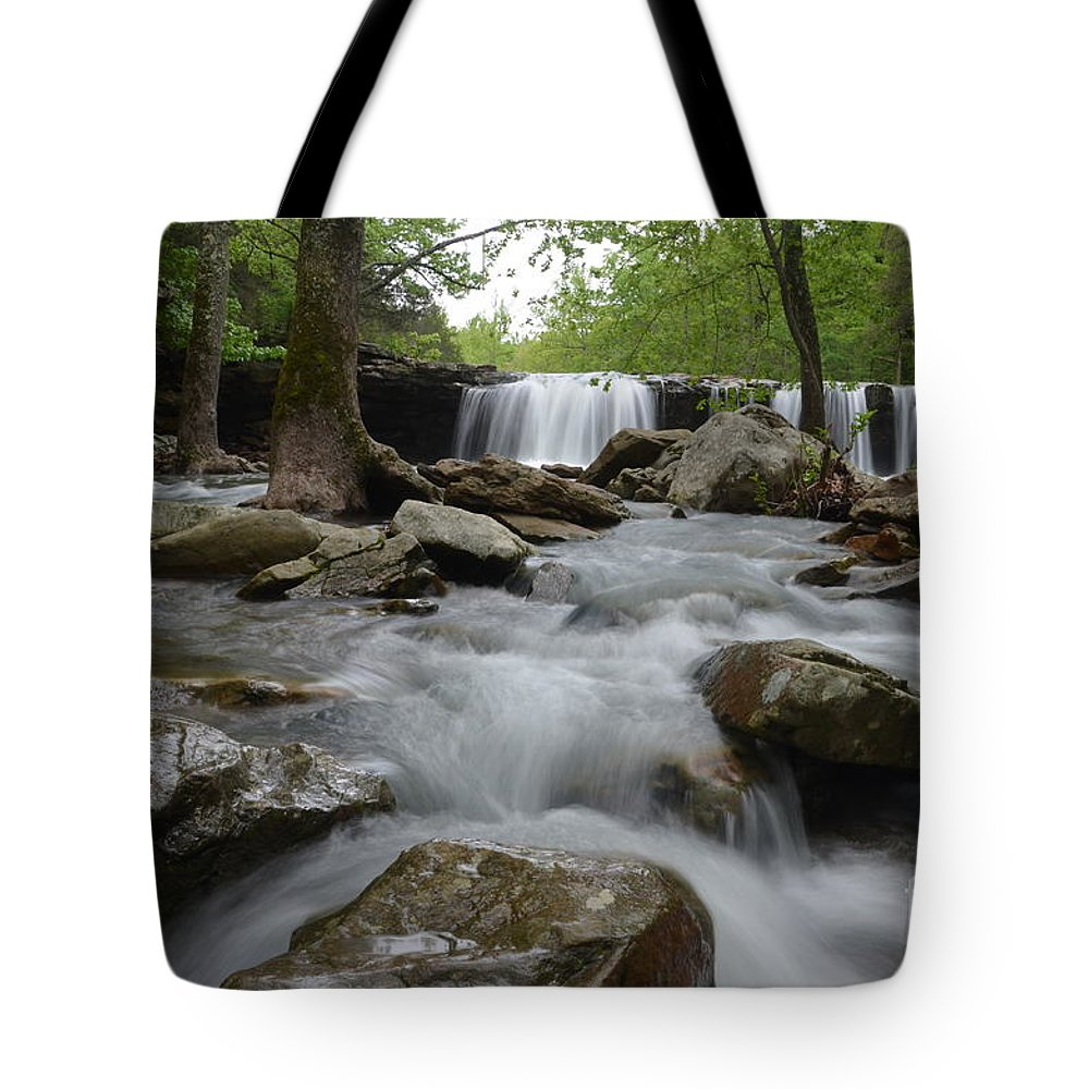 Waterfall Tote Bag featuring the photograph Downstream by Deanna Cagle