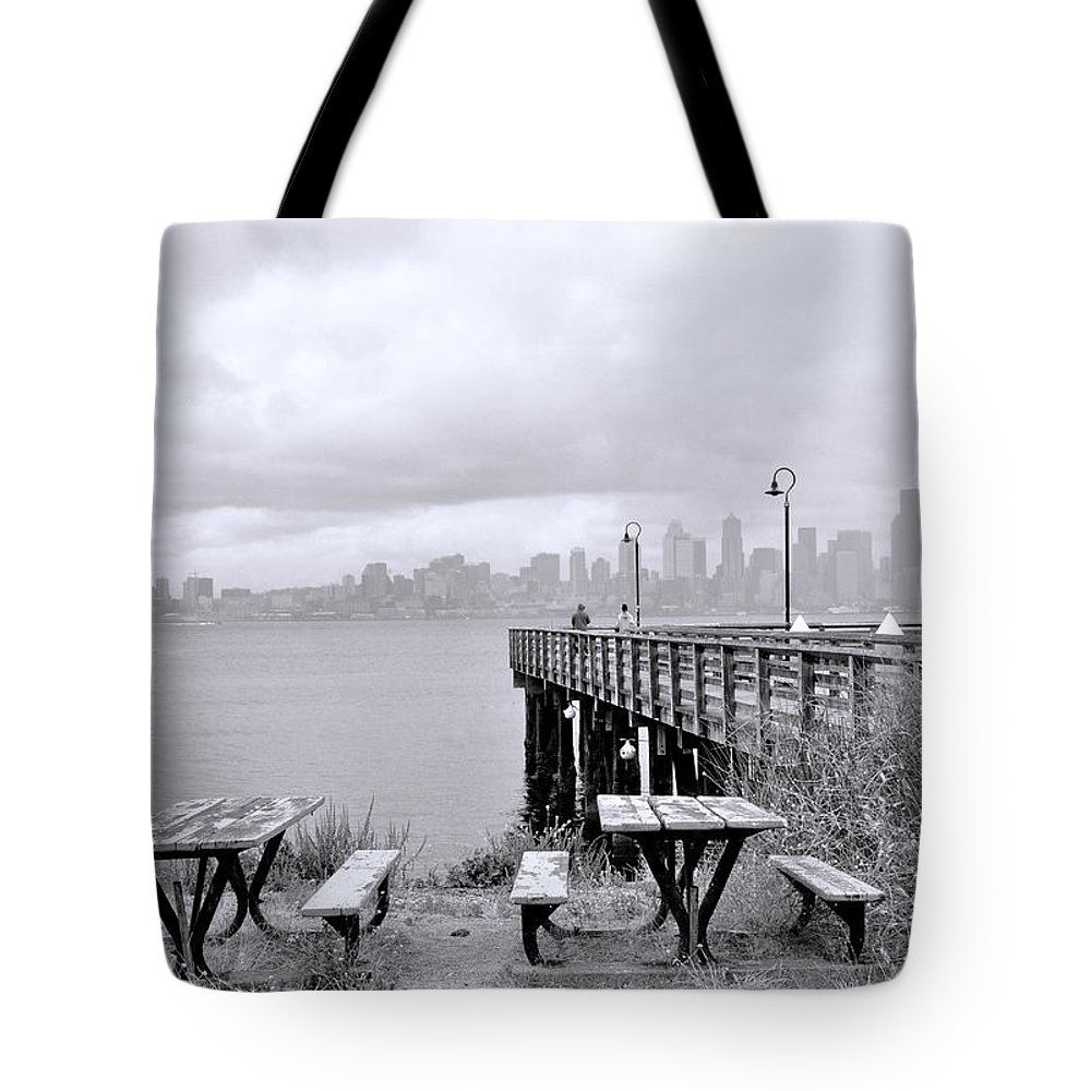 Alki Beach Tote Bag featuring the photograph Downtown Seattle As Seen From Alki Beach by Allen Beatty