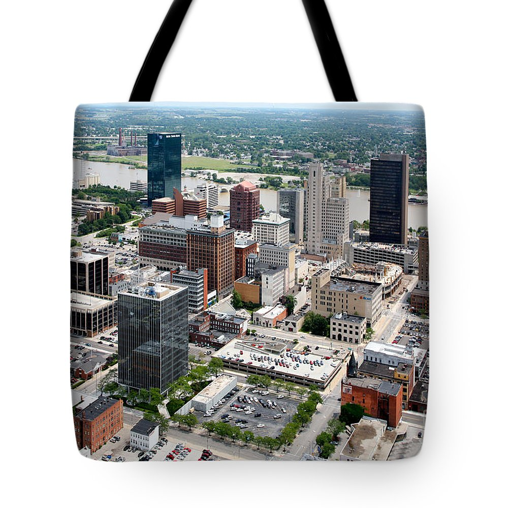 Aerial Tote Bag featuring the photograph Downtown Skyline Of Toledo Ohio by Bill Cobb