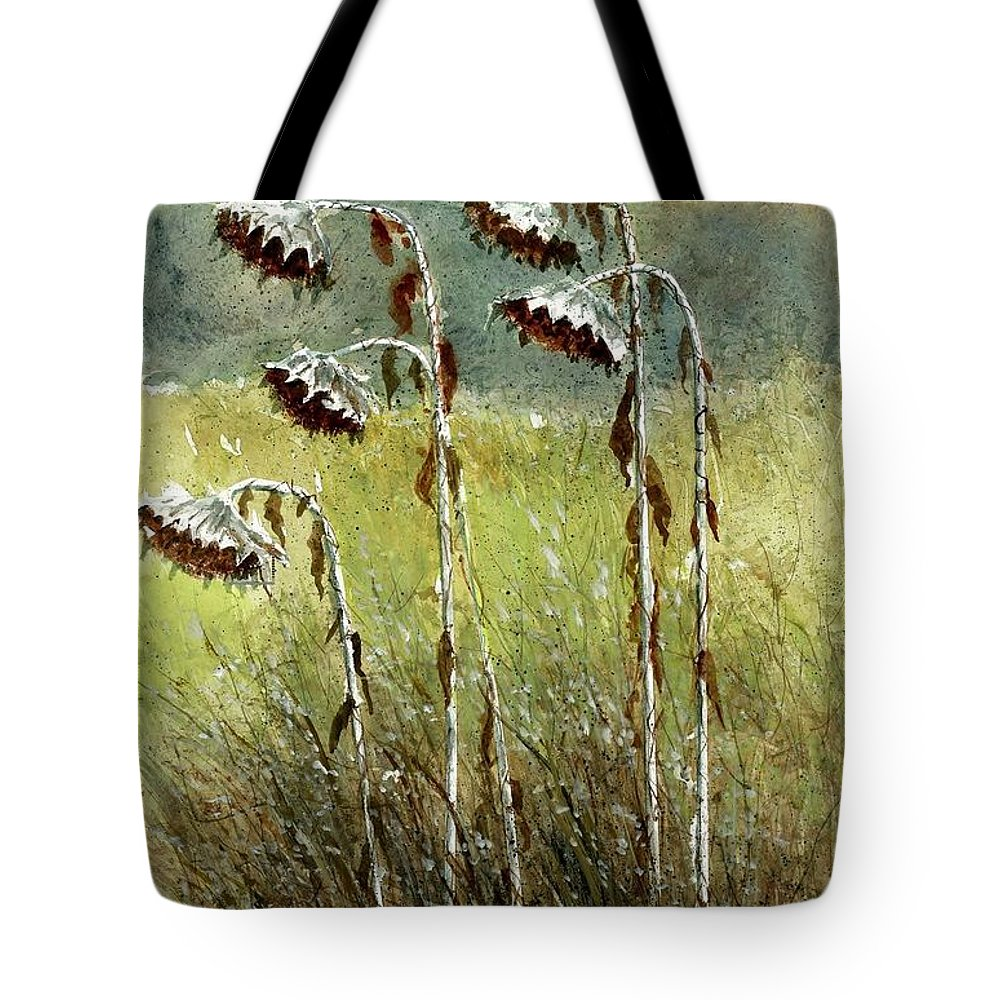 Dried Up Tote Bag featuring the painting Dried Up Sunflower Patch by Steven Schultz