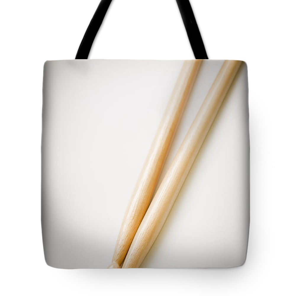 Acoustic Tote Bag featuring the photograph Drum Sticks by Tim Hester
