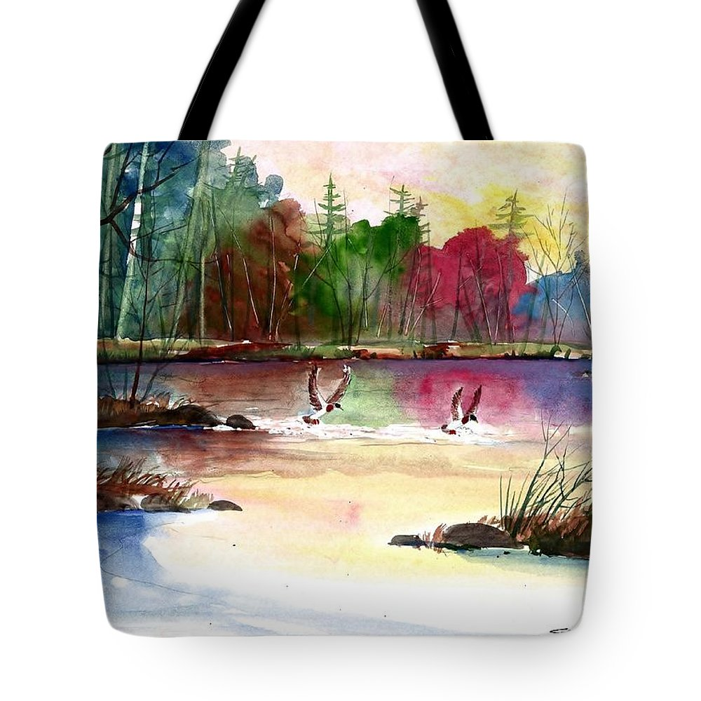Duck Lake Tote Bag featuring the painting Duck Lake by Steven Schultz