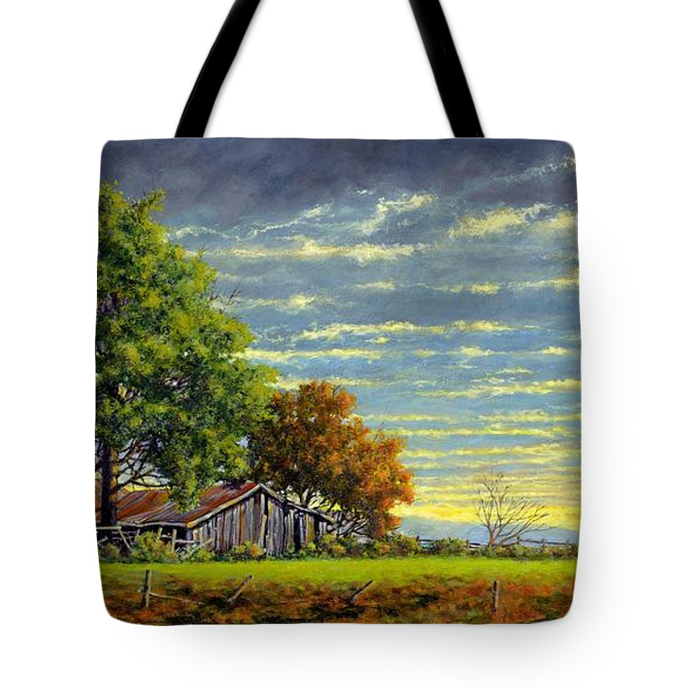Landscape Tote Bag featuring the painting Dusk by Jim Gola