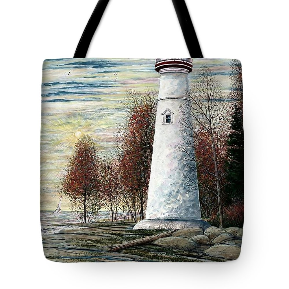 Eagle Bluff Light Tote Bag featuring the painting Eagle Bluff Light by Steven Schultz