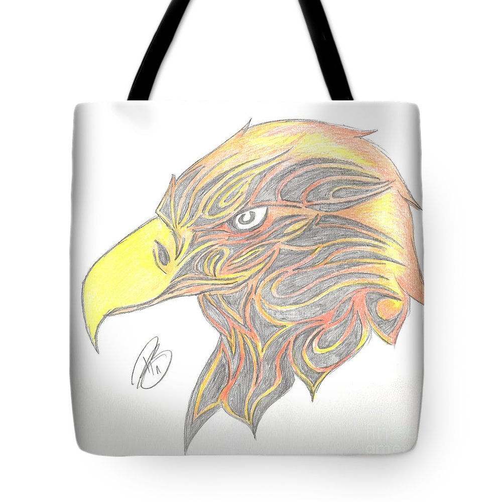 Drawing Tote Bag featuring the drawing Eagle Head by Minding My Visions by Adri and Ray