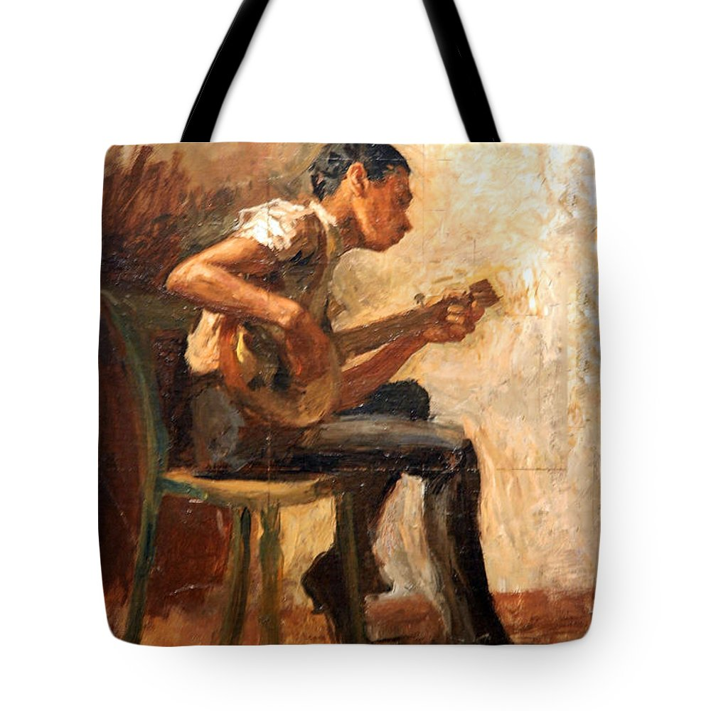 Study For Negro Boy Dancing Tote Bag featuring the photograph Eakins' Study For Negro Boy Dancing -- The Banjo Player by Cora Wandel