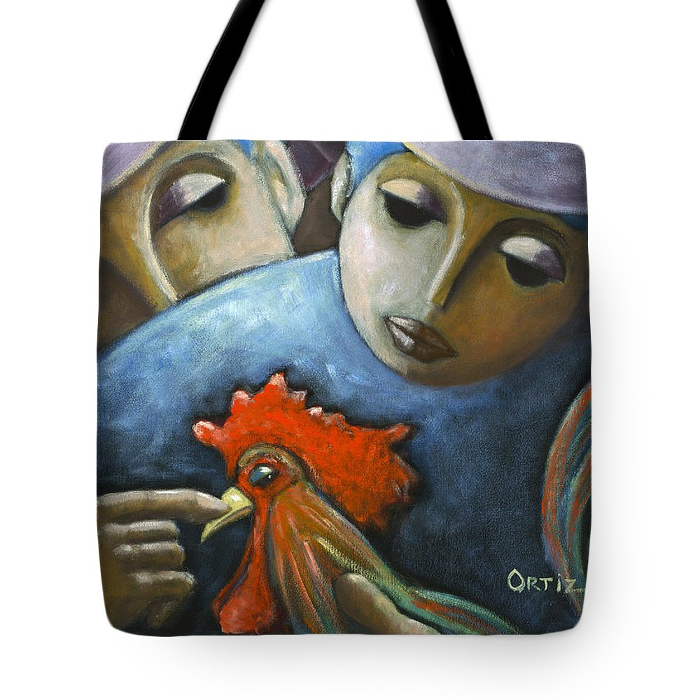 Couple Tote Bag featuring the painting El Gallo by Oscar Ortiz