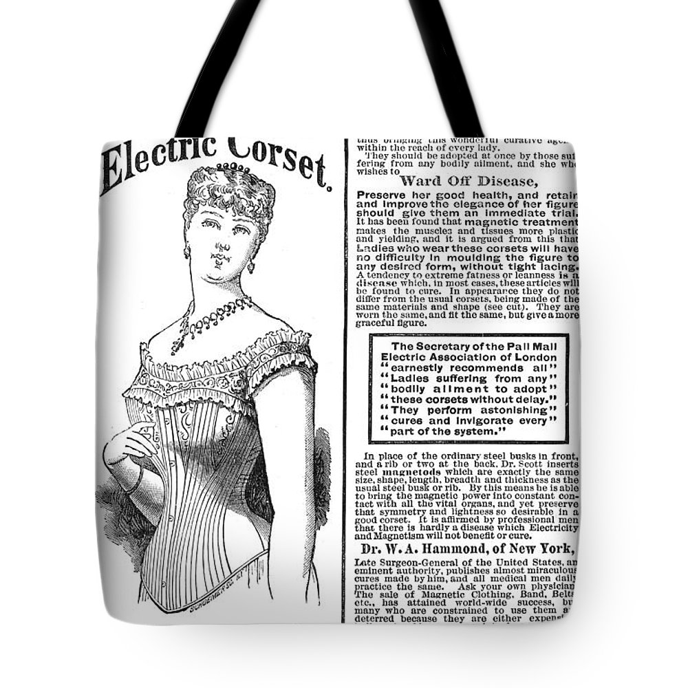 1882 Tote Bag featuring the photograph Electric Corset, 1882 by Granger