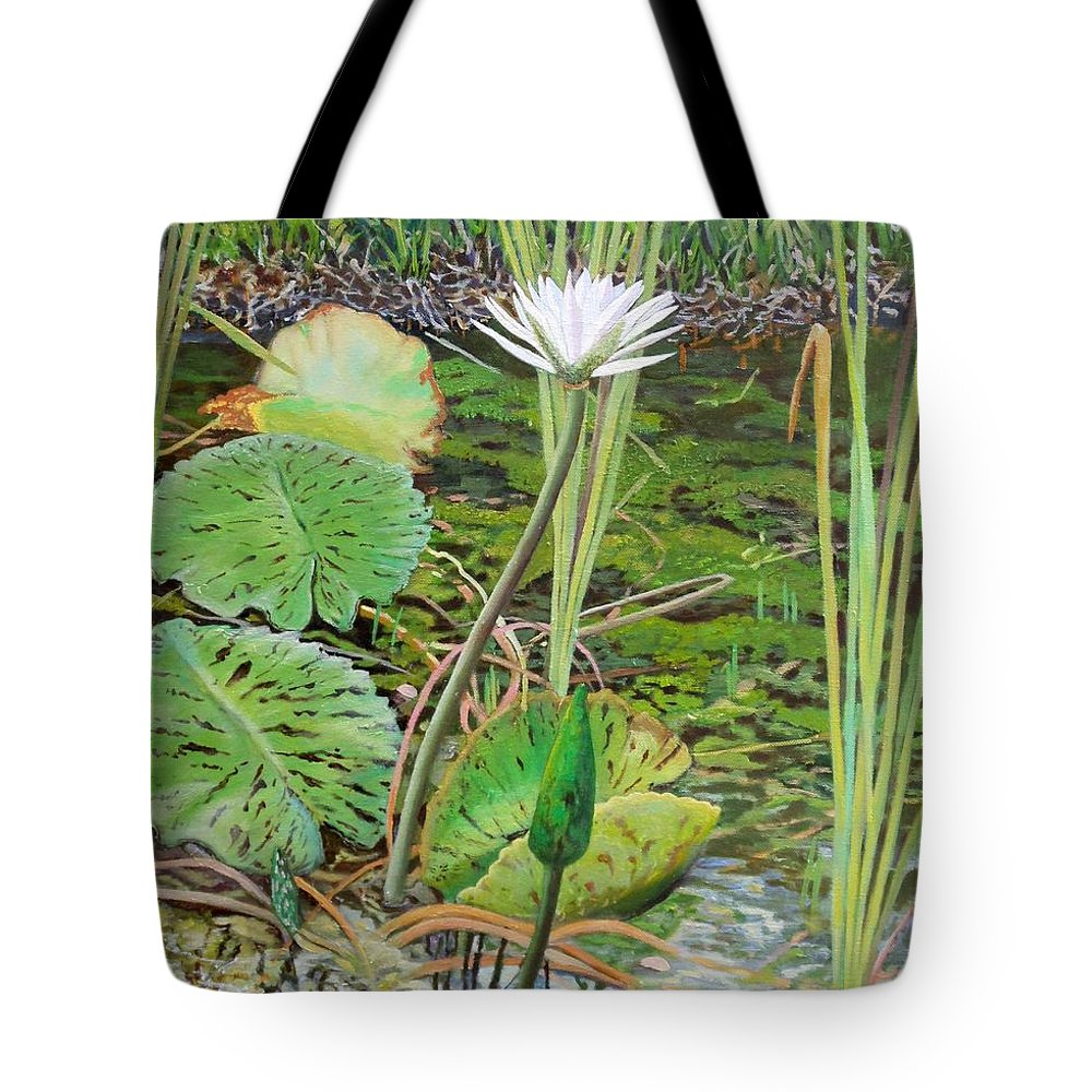 Lily Tote Bag featuring the painting Emerald Lily Pond by Caroline Street