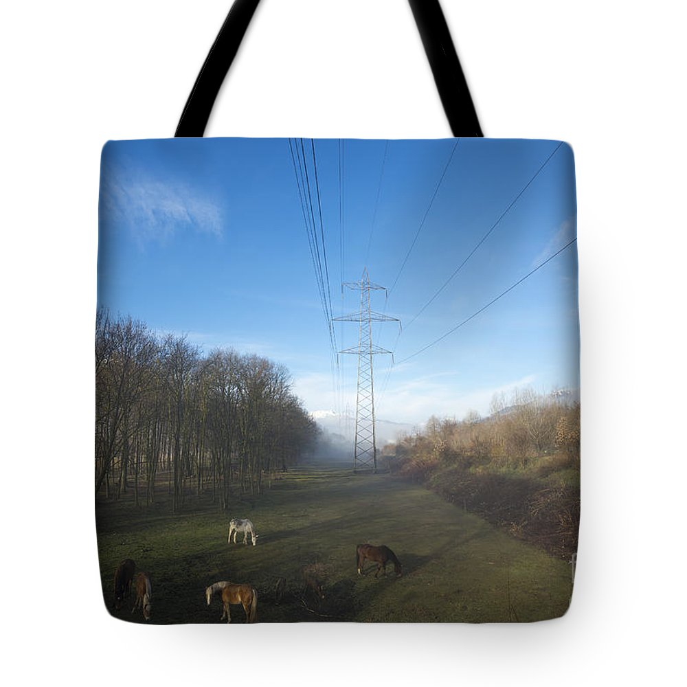 Electricity Pylon Tote Bag featuring the photograph Energy by Mats Silvan