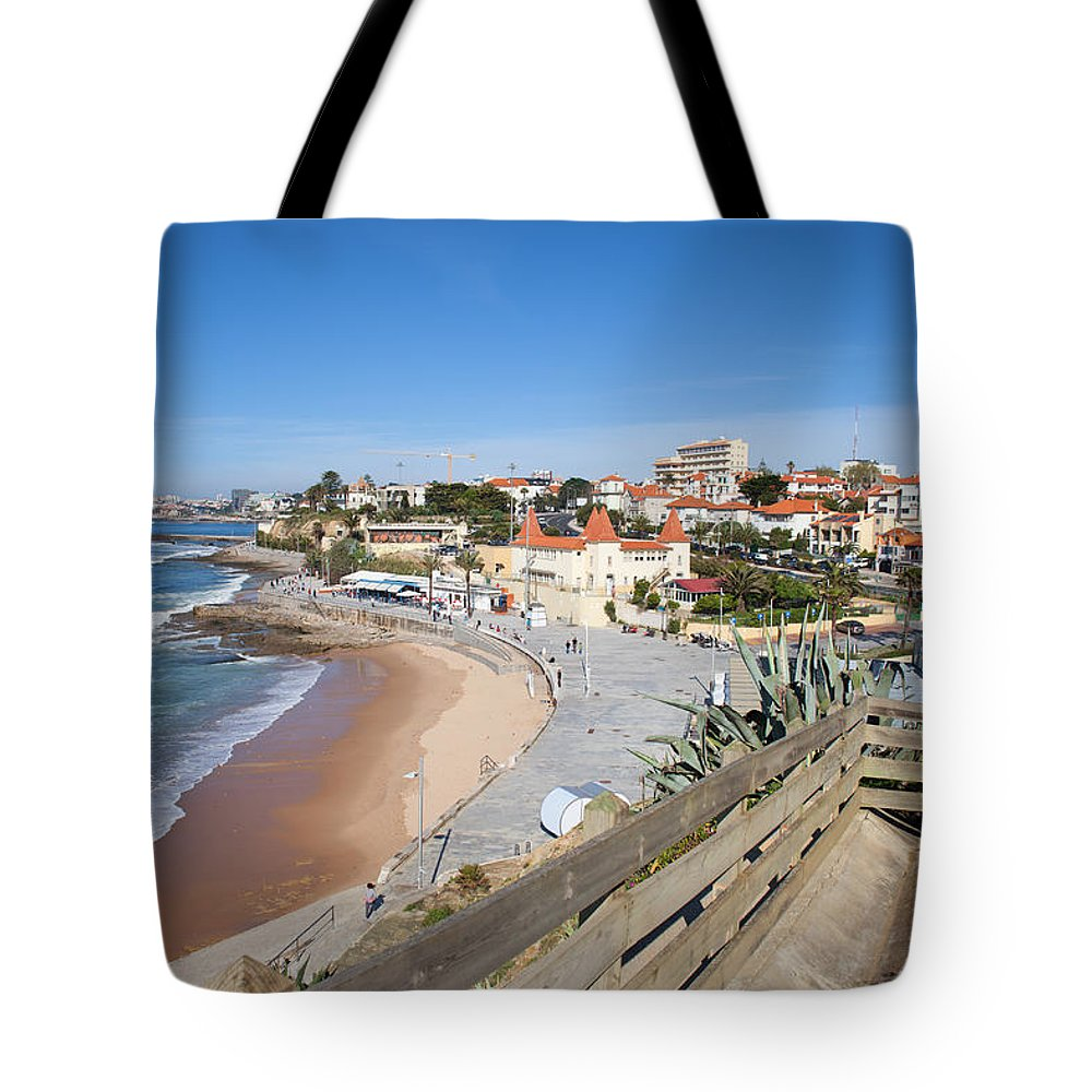 Estoril Tote Bag featuring the photograph Estoril Beach In Portugal by Artur Bogacki