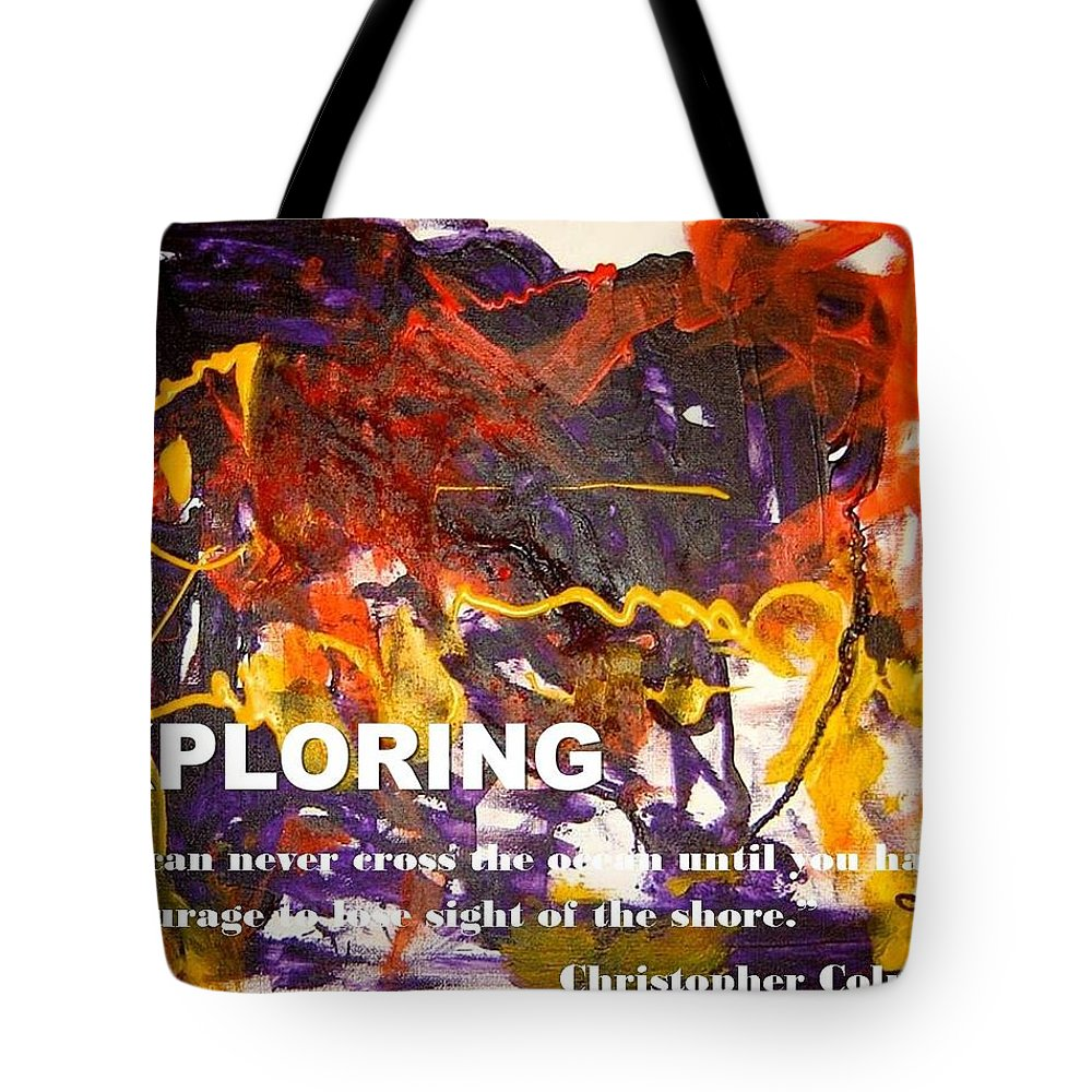 Tote Bag featuring the mixed media Exploring by Luz Elena Aponte