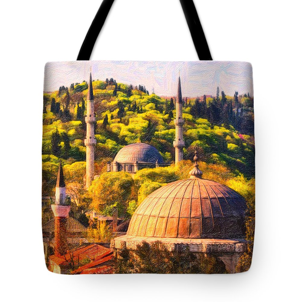 Eyup Sultan Mosque Tote Bag featuring the painting Eyup Sultan Mosque by MotionAge Designs