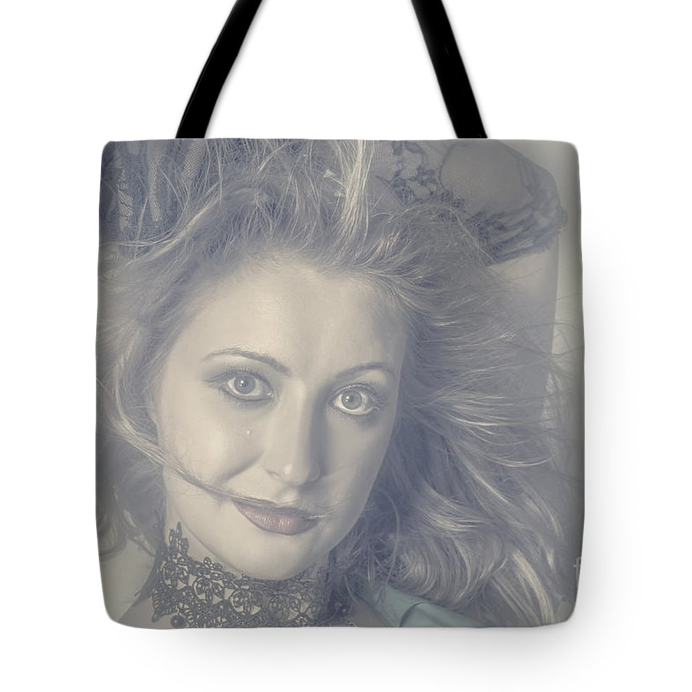 Beautiful Tote Bag featuring the photograph Face Of Beautiful Woman In Makeup Close-up by Jorgo Photography - Wall Art Gallery