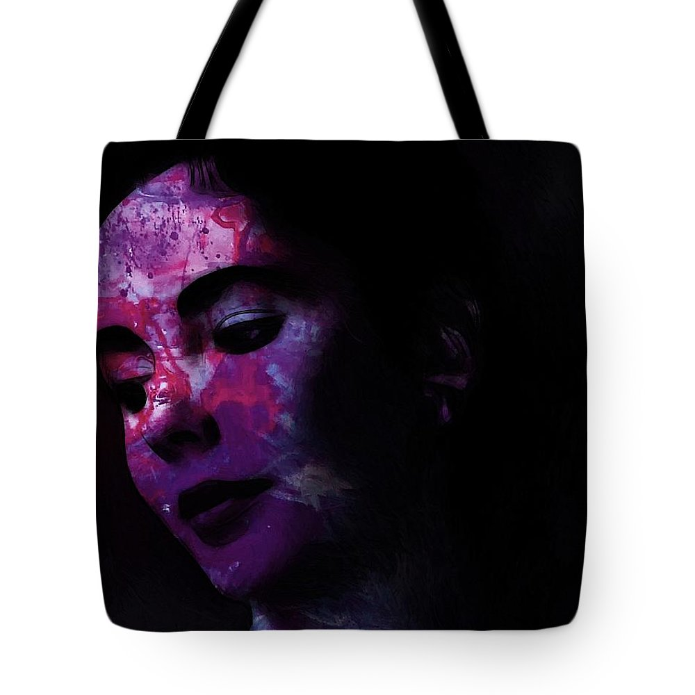 Face Portrait Liz Taylor Beauty Actress Famous Female Woman Erotic Sexy Eye Eyes Tote Bag featuring the painting Facets Of Beauty by Steve K
