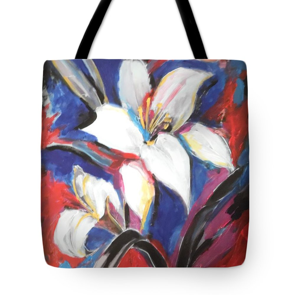 Fair Tote Bag featuring the painting Fair Pure Fragile White Lilies by Esther Newman-Cohen