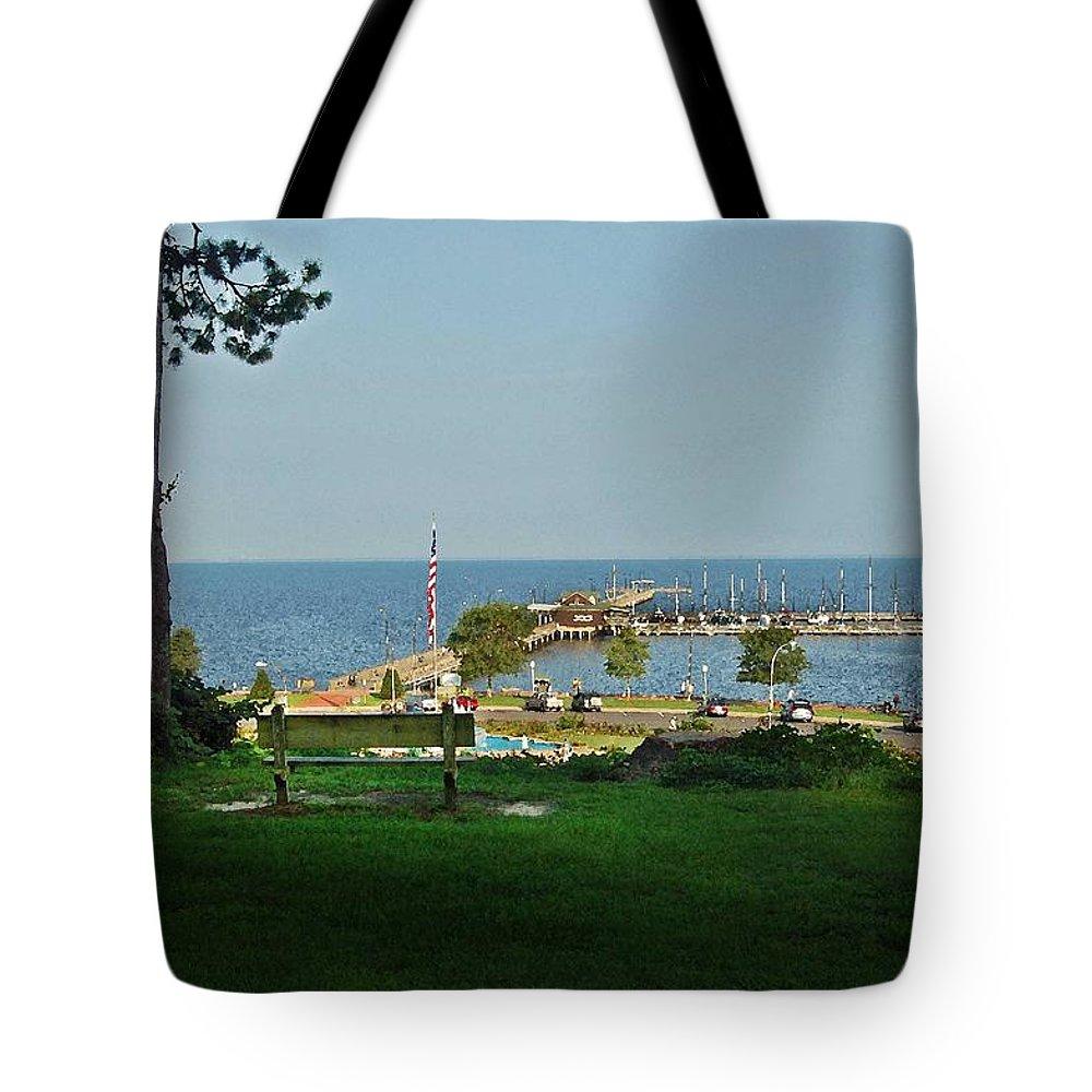 Alabama Tote Bag featuring the digital art Fairhope Pier 2012 by Michael Thomas