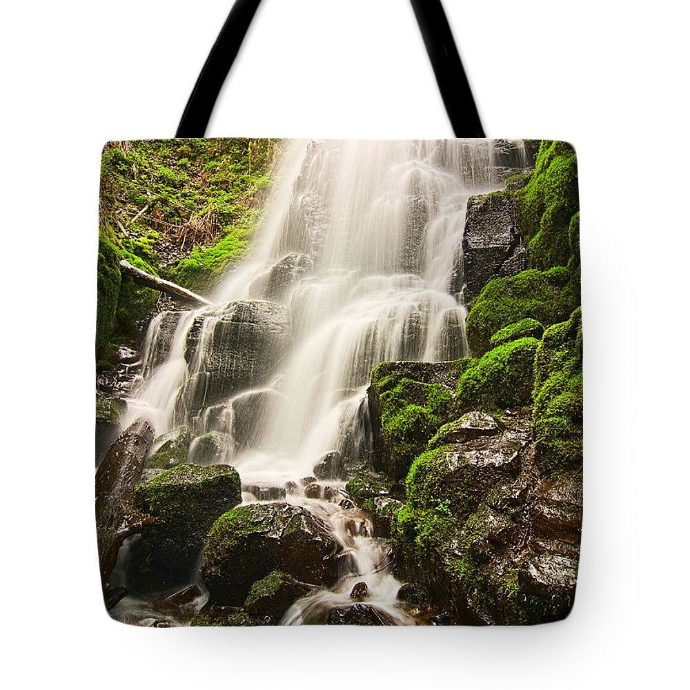 Fairy Falls Tote Bag featuring the photograph Fairy Falls In The Columbia River Gorge Area Of Oregon by Jamie Pham
