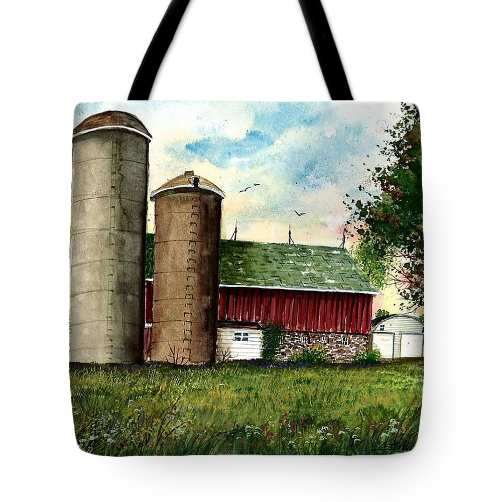 Family Farm Tote Bag featuring the painting Family Farm by Steven Schultz