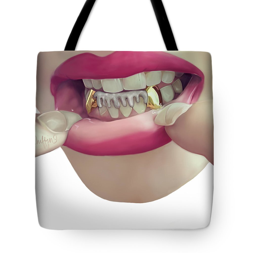 Photo Realism Tote Bag featuring the digital art Fangs by Muffin Jones