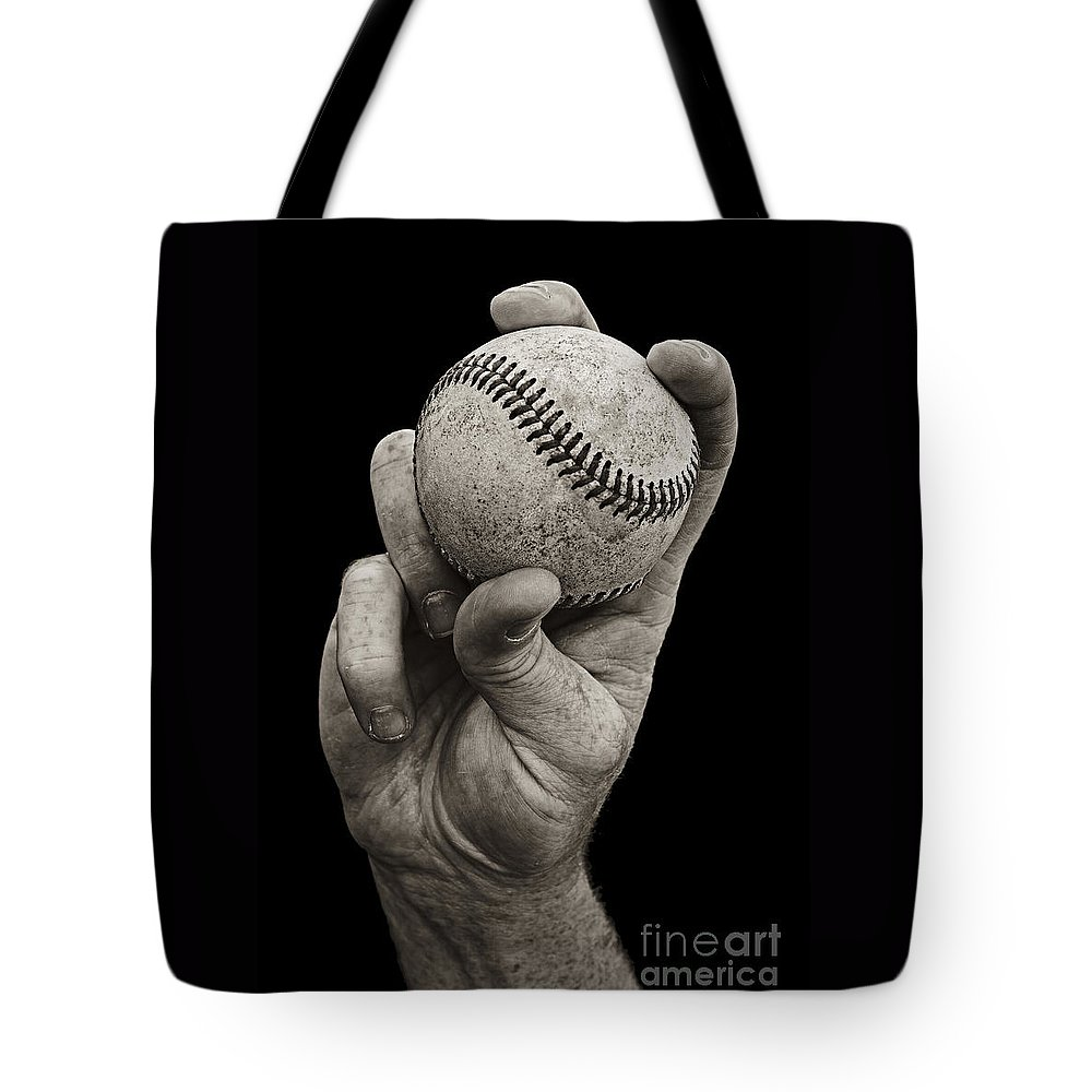 Baseball Tote Bag featuring the photograph Fastball by Diane Diederich
