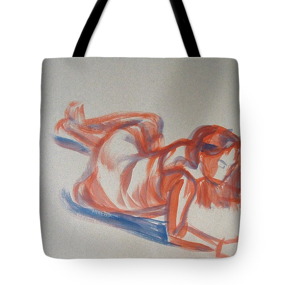 Girl Tote Bag featuring the painting Female Figure Painting by Mike Jory