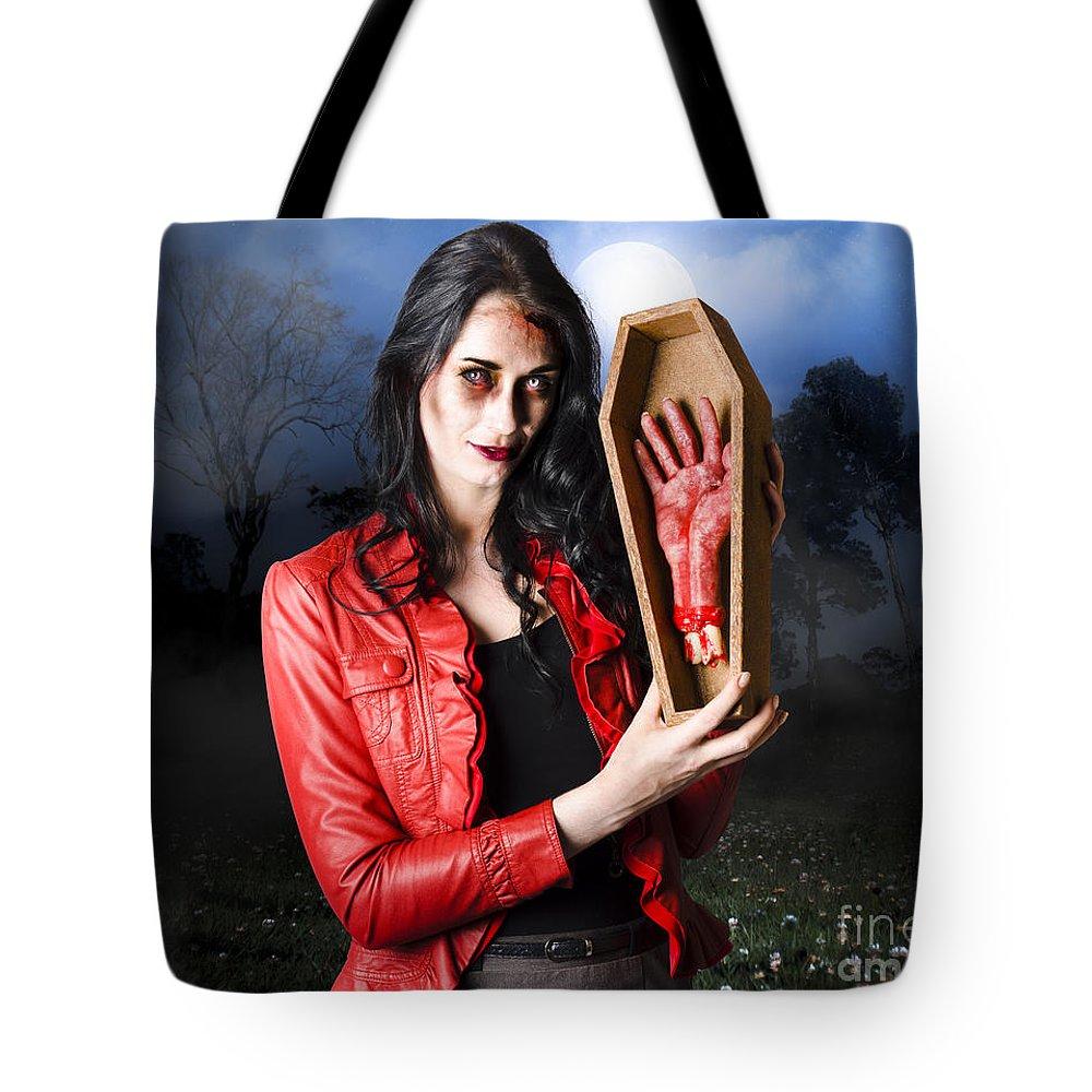 Female Grave Robber Stealing Limbs And Body Parts Tote Bag