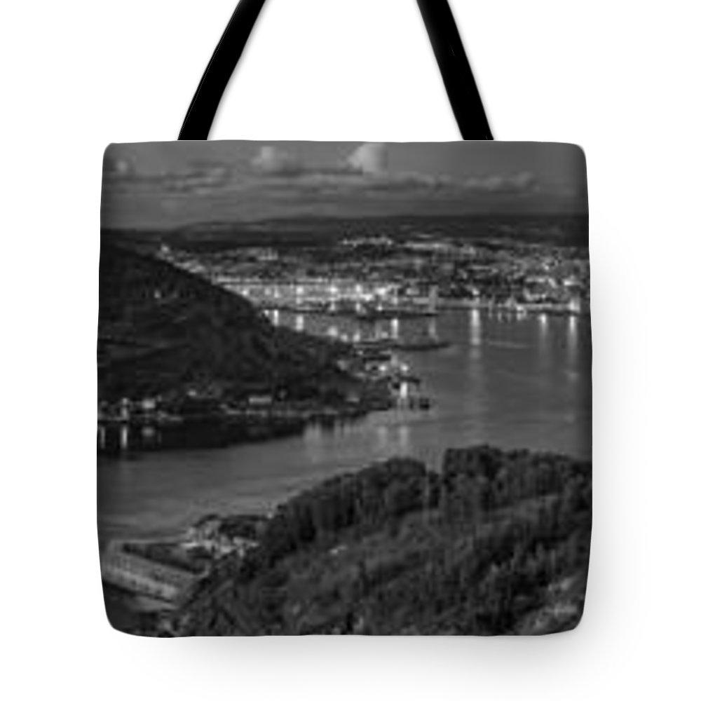 Ferrol Tote Bag featuring the photograph Ferrol's Estuary Panorama From La Bailadora Galicia Spain by Pablo Avanzini