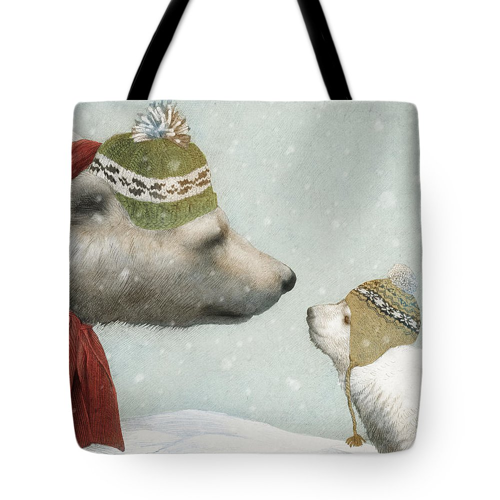 Polar Bear Tote Bag featuring the drawing First Winter by Eric Fan