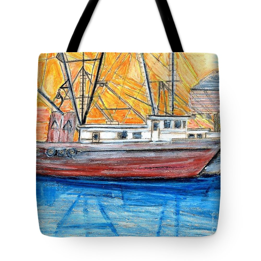 Fishing Tote Bag featuring the drawing Fishing Trawler by Eric Schiabor